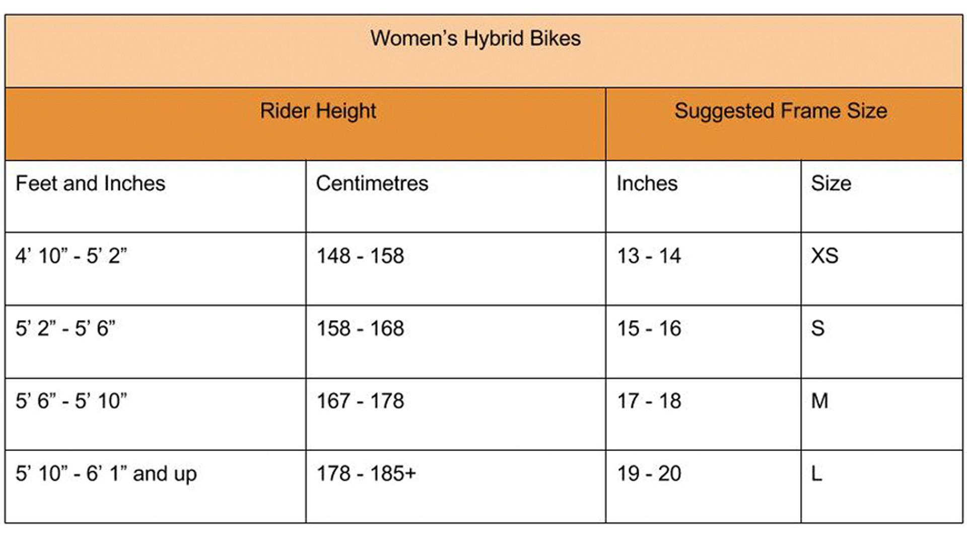 Women's hybrid bike size guide