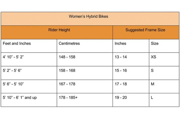 Women's hybrid bike size guide