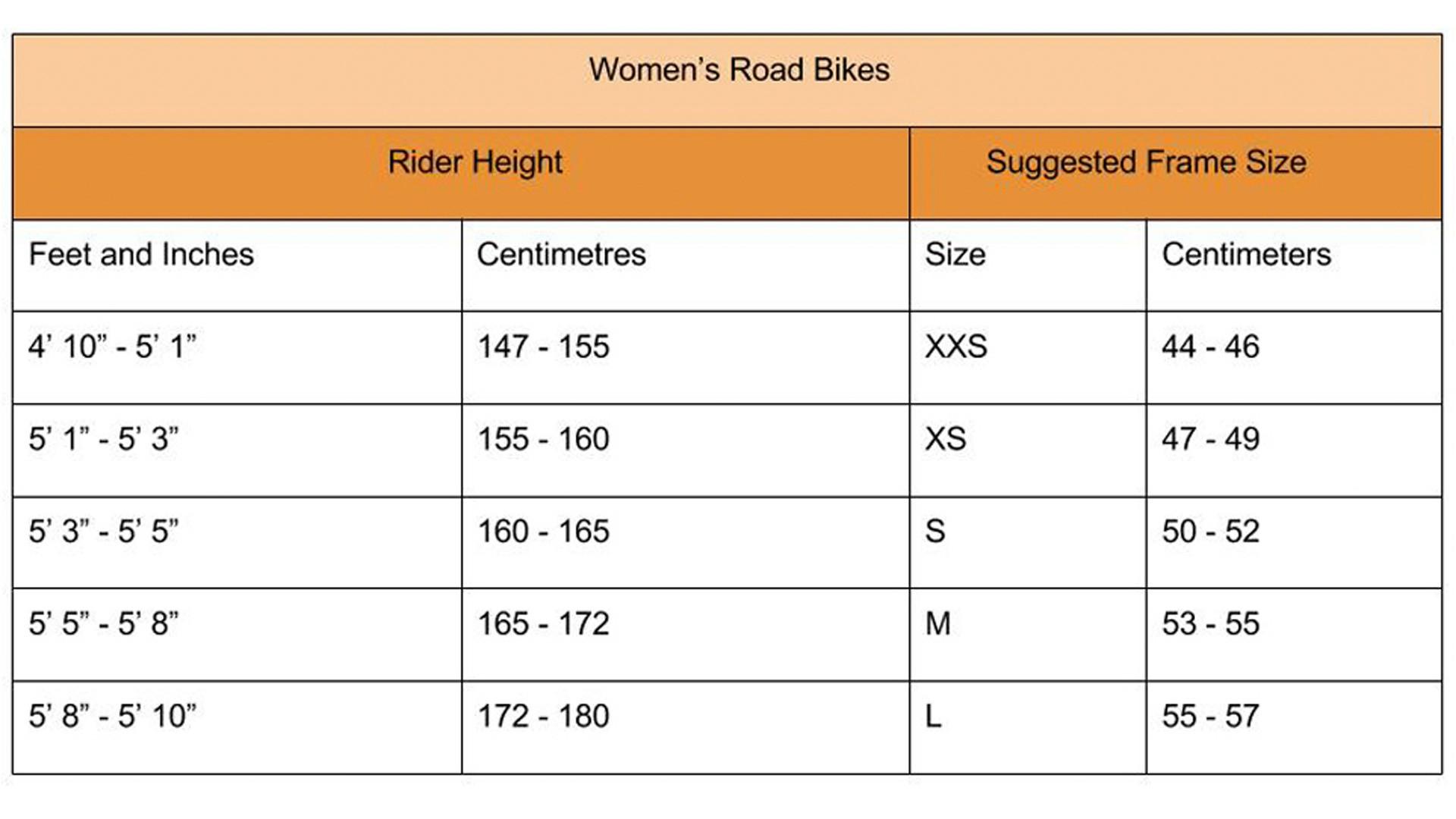 Women's road bike size guide