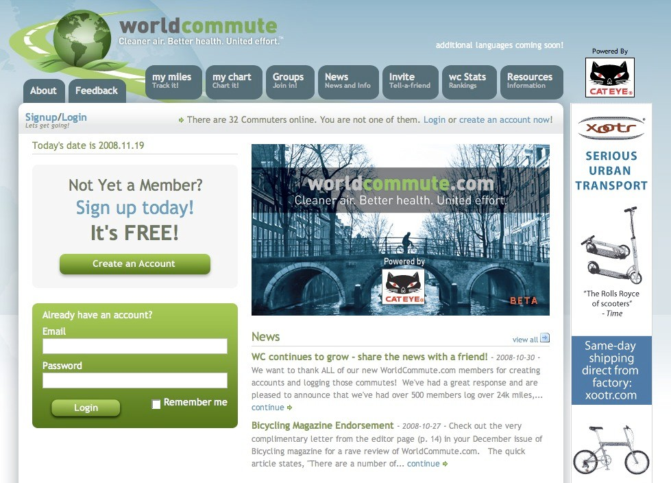 WorldCommute.com, powered by Cateye.