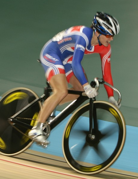 Victoria Pendleton in action at Manchester