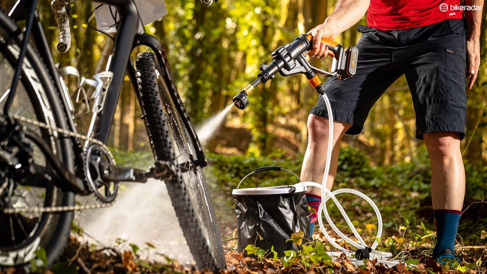 With up to 10 times the pressure of a garden hose, the Hydroshot strips mud from the filthiest bikes