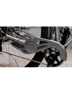 Even the chainguard is constructed from titanium