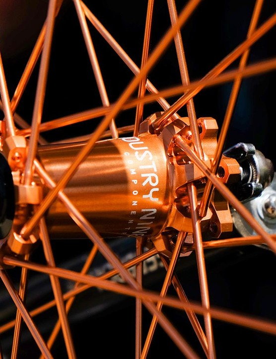 Industry Nine was showing off a limited edition copper option for its colorful anodized hubs and spokes