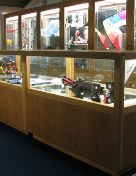 The exhibition features equipment from a variety of sports
