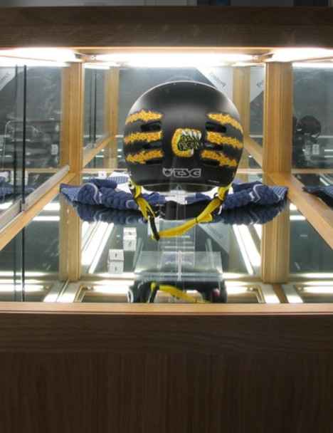 Sam's helmet, featuring his trademark leopardskin motif, is on display at the Museum of Design in Plastics in Poole