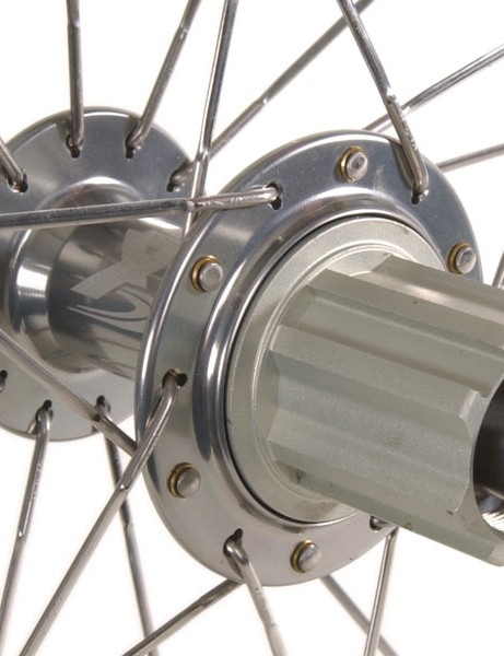 The aluminum freehub body is easily swapped from Campagnolo to Shimano.
