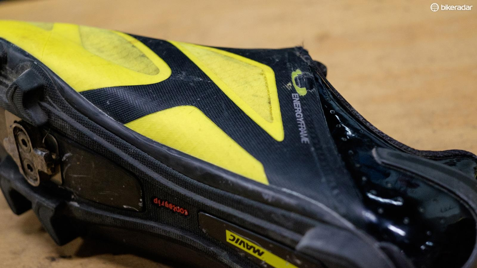 Unfortunately the inside of each shoe suffered from crank rub