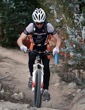 Going up. Technical climbing characterises the uphill sections of the course