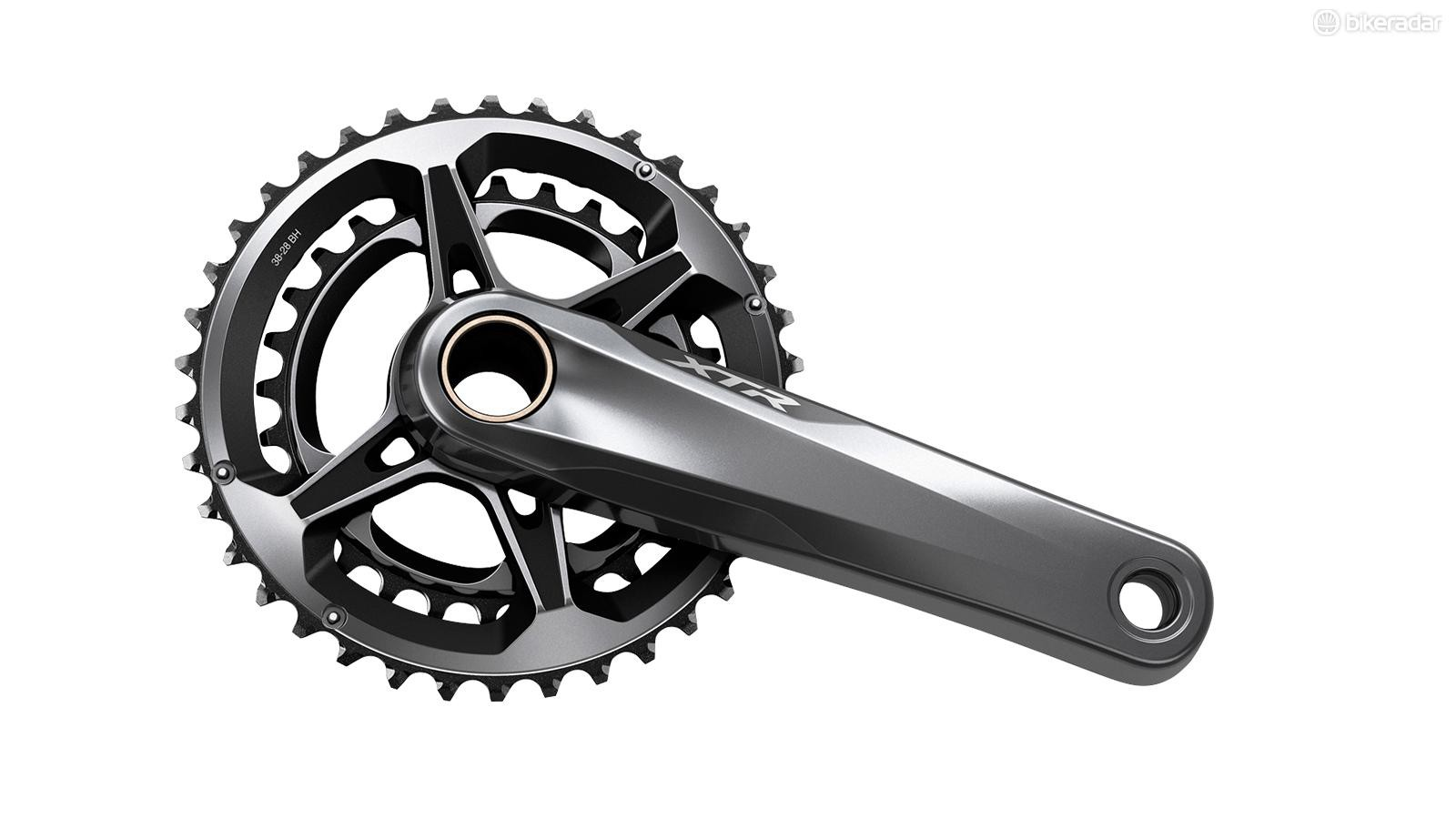 Shimano offers a single 38/28t chainring combination for 2x drivetrains