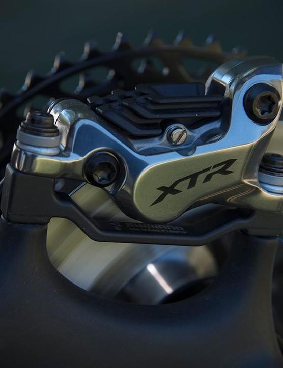 Shimano's four piston BR-M9120 brake calipers offer plenty of power