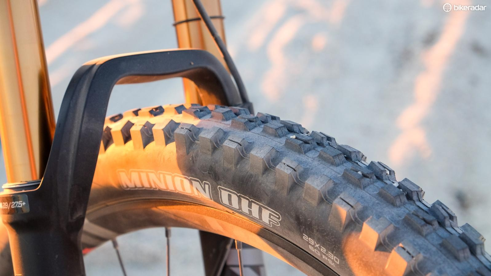 Up front, the SB100 wears a 29x2.3in Maxxis Minion DHF
