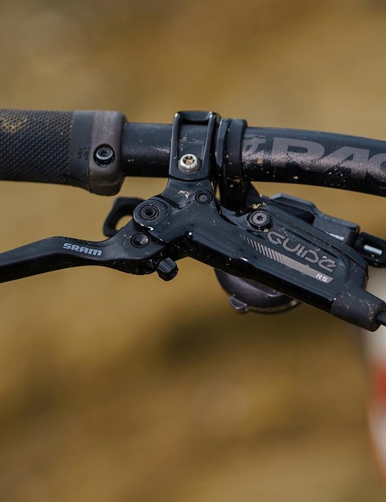 SRAM Guide brakes and Shimano shifters mated reasonably well together on the bars