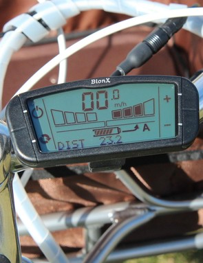 The BionX dashboard allows you to control how much battery-powered assist you get (in bars to the right), or, if you like, how much your pedaling recharges the battery (in bars to the left)