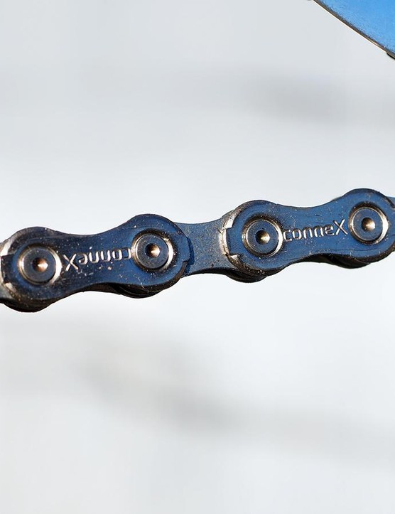 Satisfying both the 'shiny' and 'durable' requirements are Wippermann's Connex 11sX chain, built with stainless steel outer plates and nickel plated inner ones