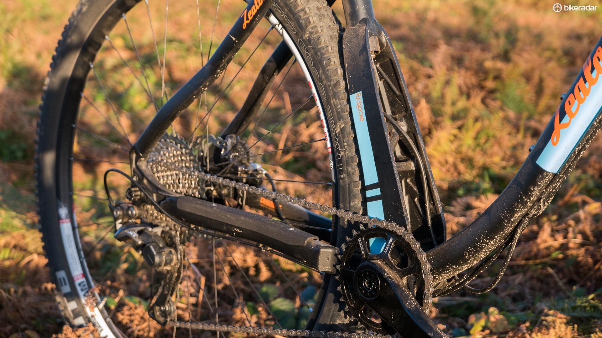 The innovative 'Eclipse' seat tube design allows for short chainstays and loads of clearance