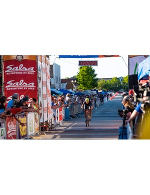The finish in downtown Emporia is fun and festive. And yes, I am already thinking about improving that time next year...