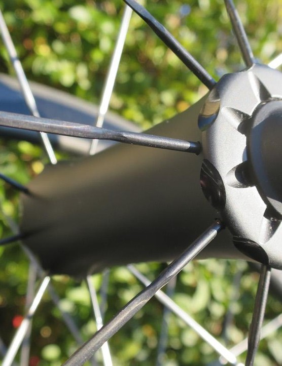 The minimal design of the front hub helps keep the weight down