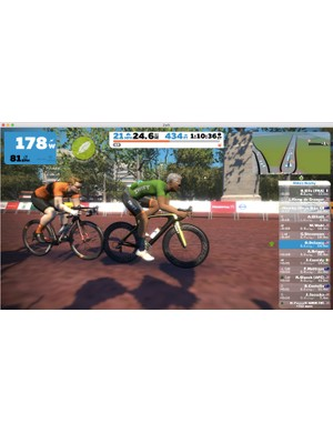 A big part of Zwift's allure is the interactivity with other riders around the world. You can draft, pull, attack and chat with others as you pedal around virtual courses