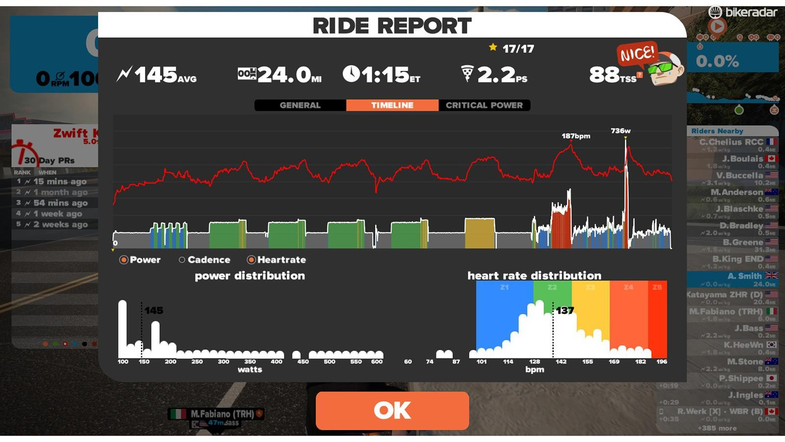 View a report on your ride
