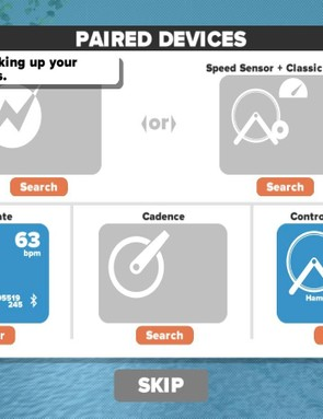 Zwift looks for ANT+ and Bluetooth devices when you first connect