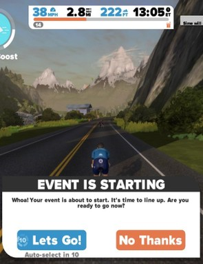 You can join an upcoming event and ride freely until a few minutes before it starts, at which point you'll get a notice like this