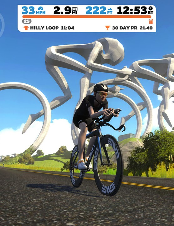 Zwift riding in Watopia
