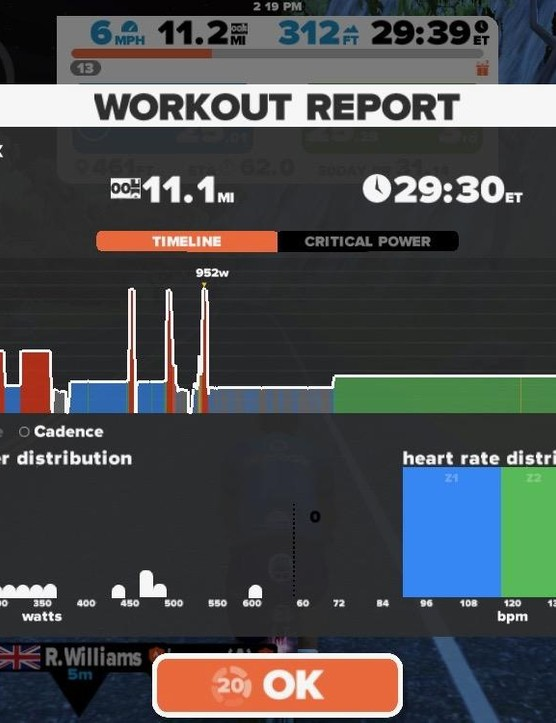 After your workout you get a little analysis page—and your rides can be uploaded to Strava, TrainingPeaks and Today's Plan