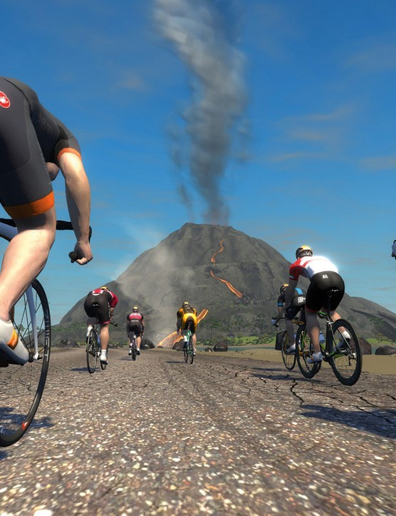 Zwift's own volcano is a far more active beast