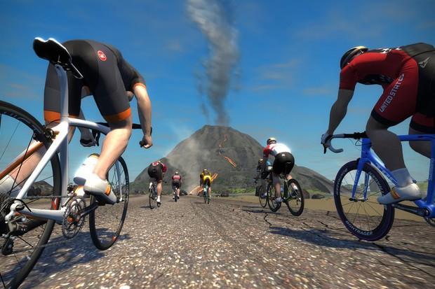 "Cyclist's paradise — aka ""Watopia"""