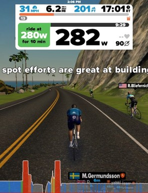Zwift's power-based workouts are similar to those you find in other apps — but you complete them as your avatar pedals down virtual roads