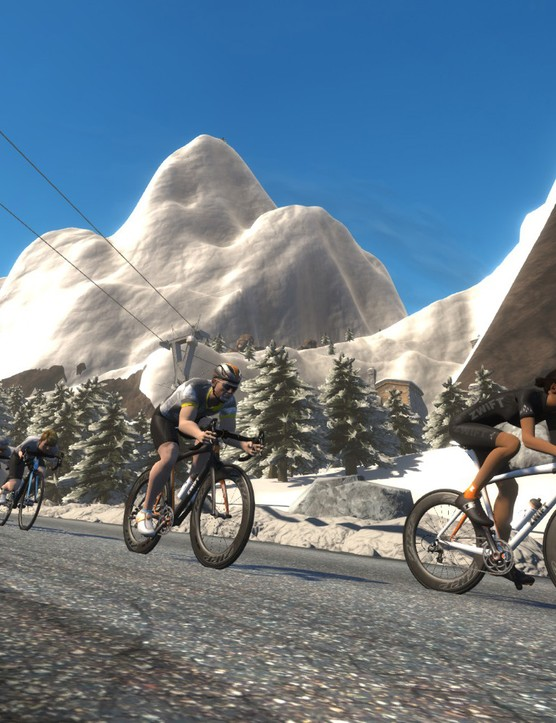 Zwift allows in-game chat, events, rides and races. You might also see the odd pro zoom past. Virtually, of course...