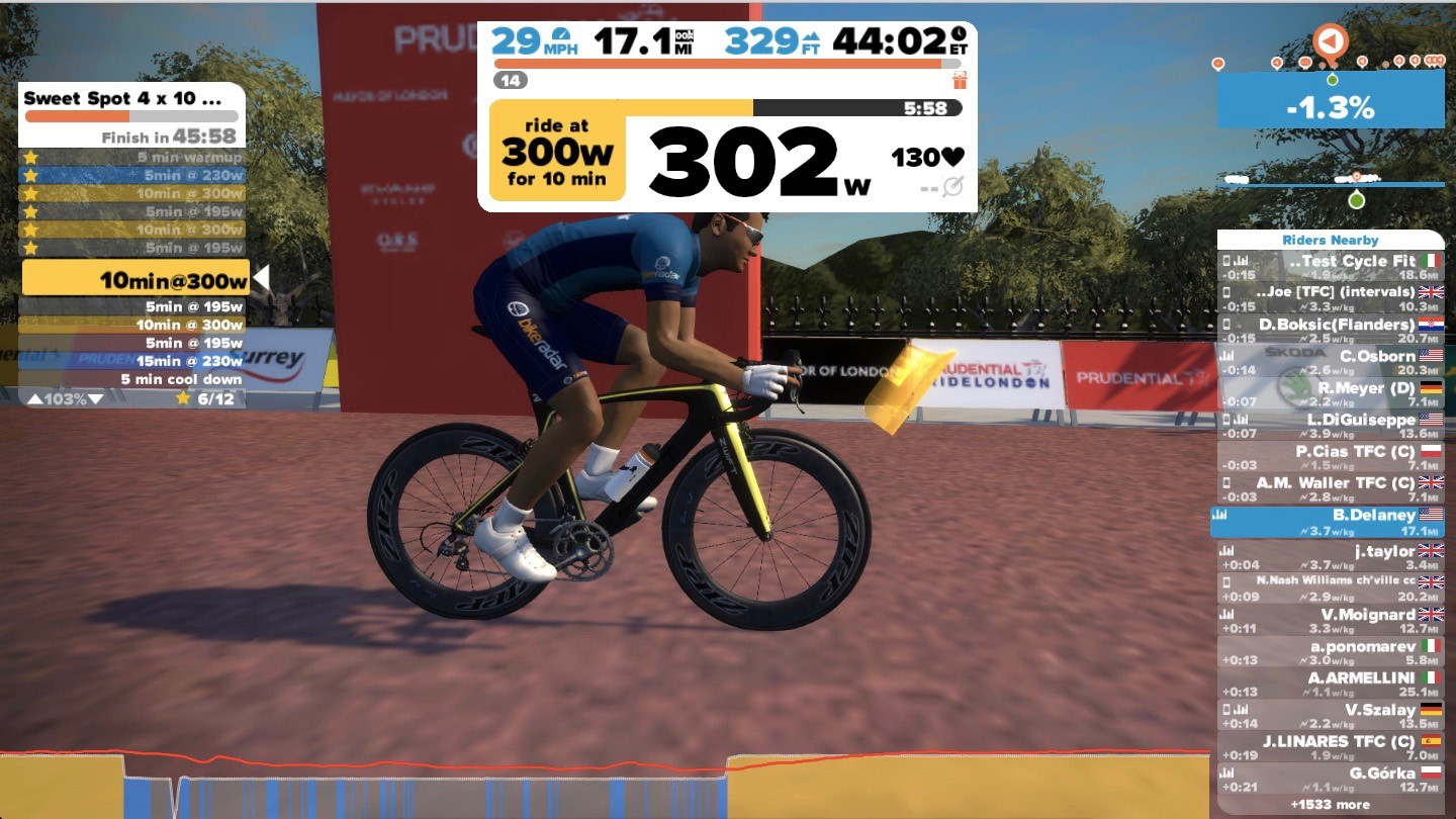 Zwift workouts