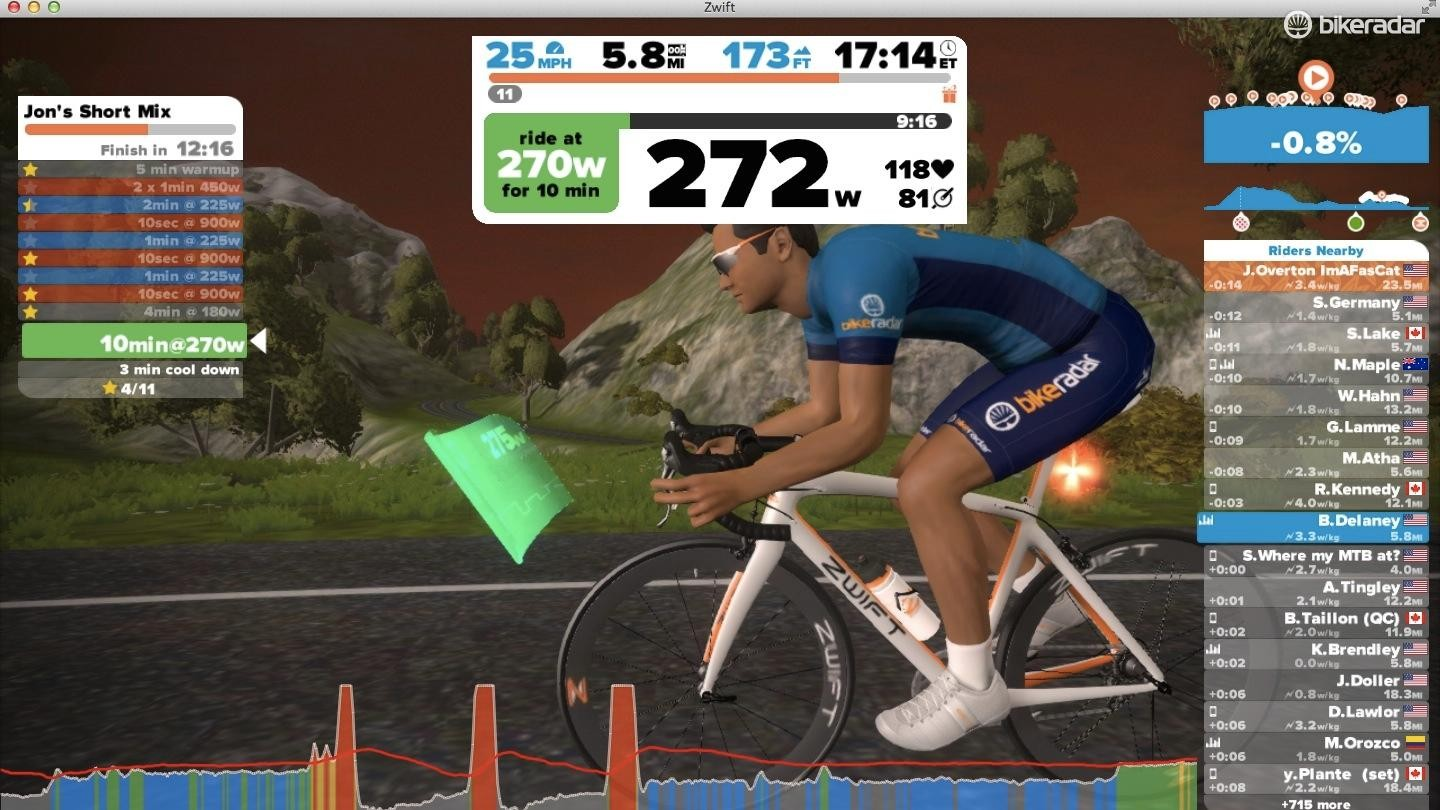 Zwift is a great partner for the Wahoo Kickr. You can ride in virtual courses with either the elevation changes or specific workouts driving the Kickr's resistance