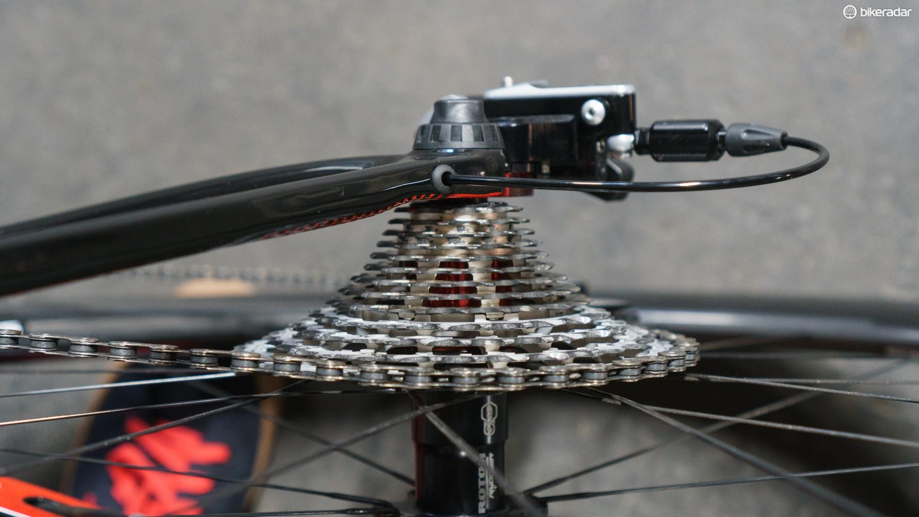 The 13-speed cassette is quite a thing to behold