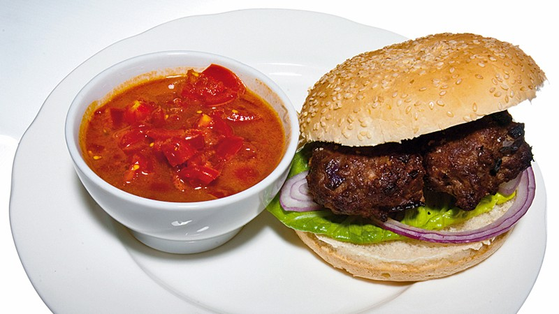Biker's burger with BBQ relish
