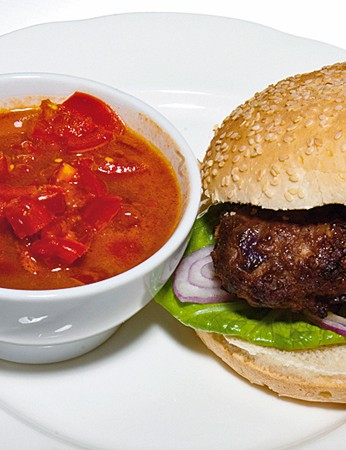 Biker's burger with BBQ relish