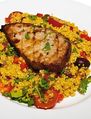 Seared tuna with Moroccan quinoa