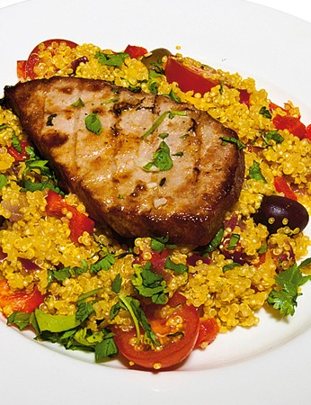 Seared tuna with Moroccan quinoa