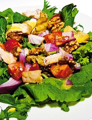 Shredded chicken, walnut and artichoke salad