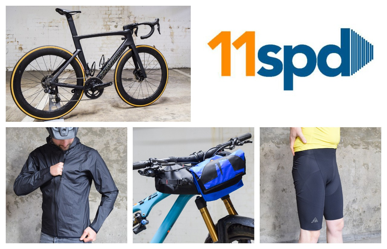 Specialized Venge S-Works, Mission Workshop The Sans jacket, Bedrock Bikepacking Moab bag and 7Mesh Mk3 bib shorts