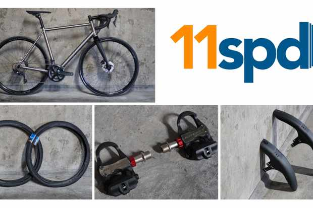 11spd collage, showing a bike, some tyres, pedals and mudguards