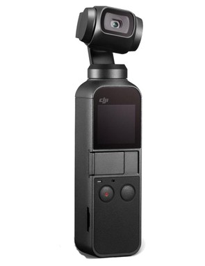 Image of a small black camera on hand held gimble on a white background