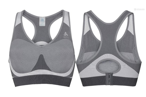 Picture of the front and back of a grey Odlo sports bra on a white background