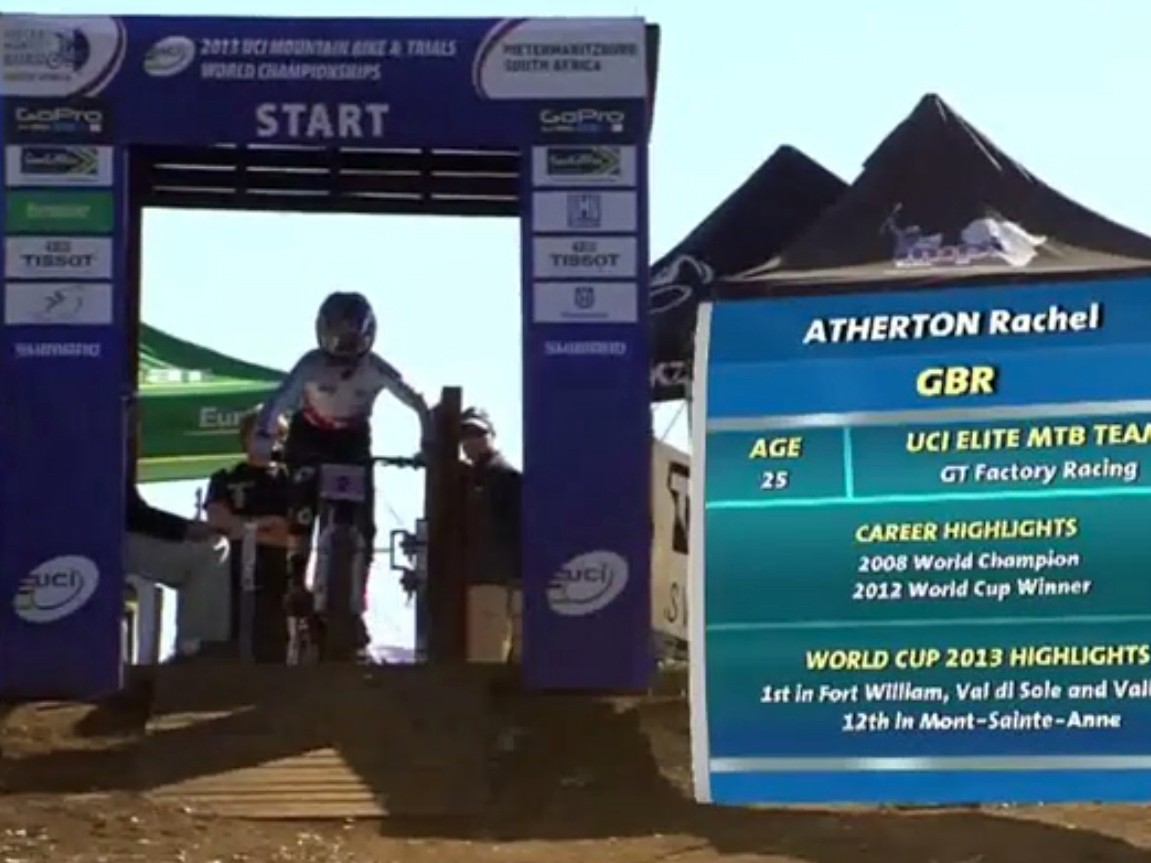 Rachel Atherton in the Pietermaritzburg start gate at last year's World Championships. Will she make it two wins in a row on this course?
