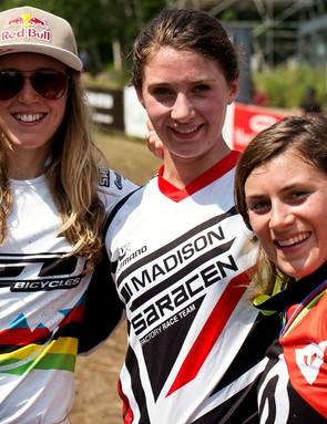Rachel Atherton, Manon Carpenter and Emmeline Ragot – the smiles mask bitter rivalry!