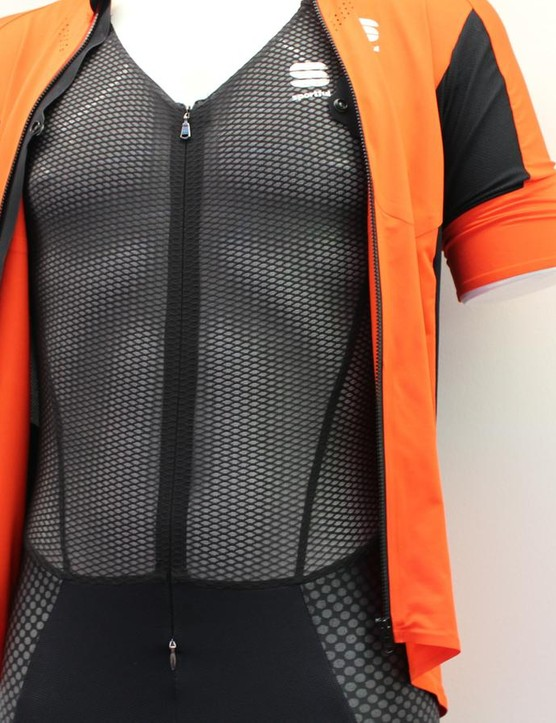 The R&D bib short's integrated base layer unzips