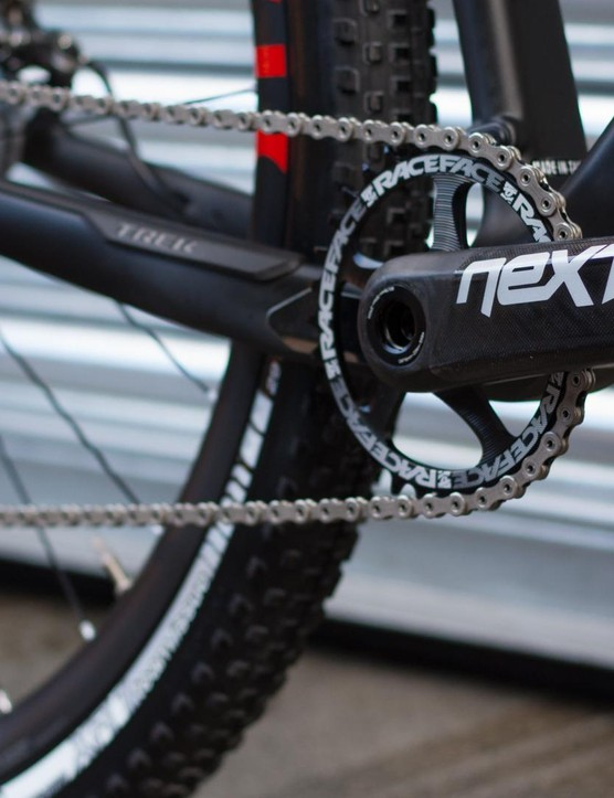 The drivetrain is a well thought out mix of range topping parts from Race Face and Shimano