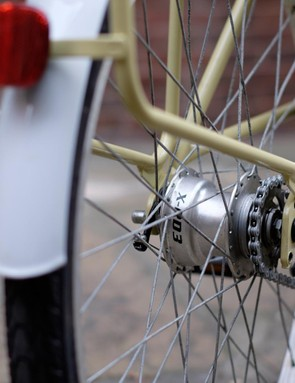 The three-speed transmission features ratios that mask the heft of this bicycle well