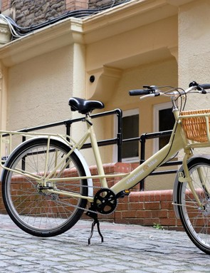 Our Elephant bike has the larger of two frame sizes and comes fully kitted with the optional front parcel tray and basket